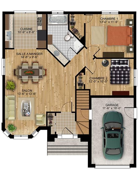 Modèle Camille - Nos Plans - Maisons de ville neuves à vendre à Terrebonne