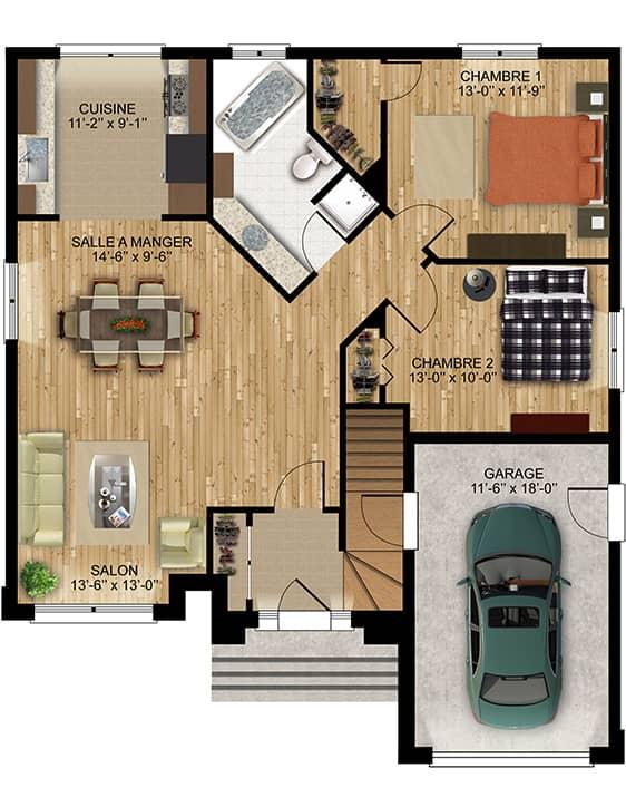 Modèle Camille - Nos Plans - Maisons écoresponsables neuves à vendre à Terrebonne