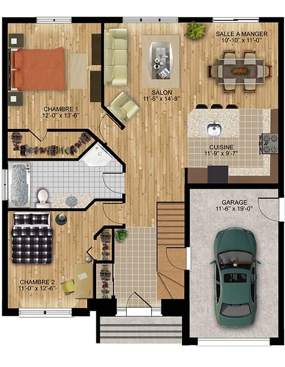 Modèle Kimo - Nos Plans - Maisons écoresponsables neuves en vente à Lanaudière