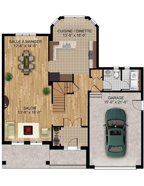 Modèle Monaco - Nos Plans - Maisons de ville neuves à vendre à Terrebonne