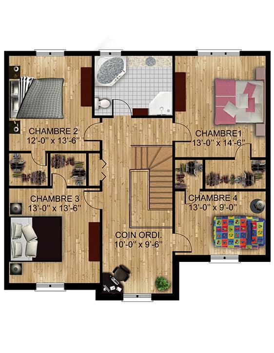 Modèle Versant1 - Nos Plans - Maisons de ville neuves à vendre à Terrebonne