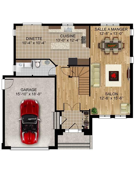 Modèle Versant1 - Nos Plans - Maisons de ville neuves à vendre à Lanaudière
