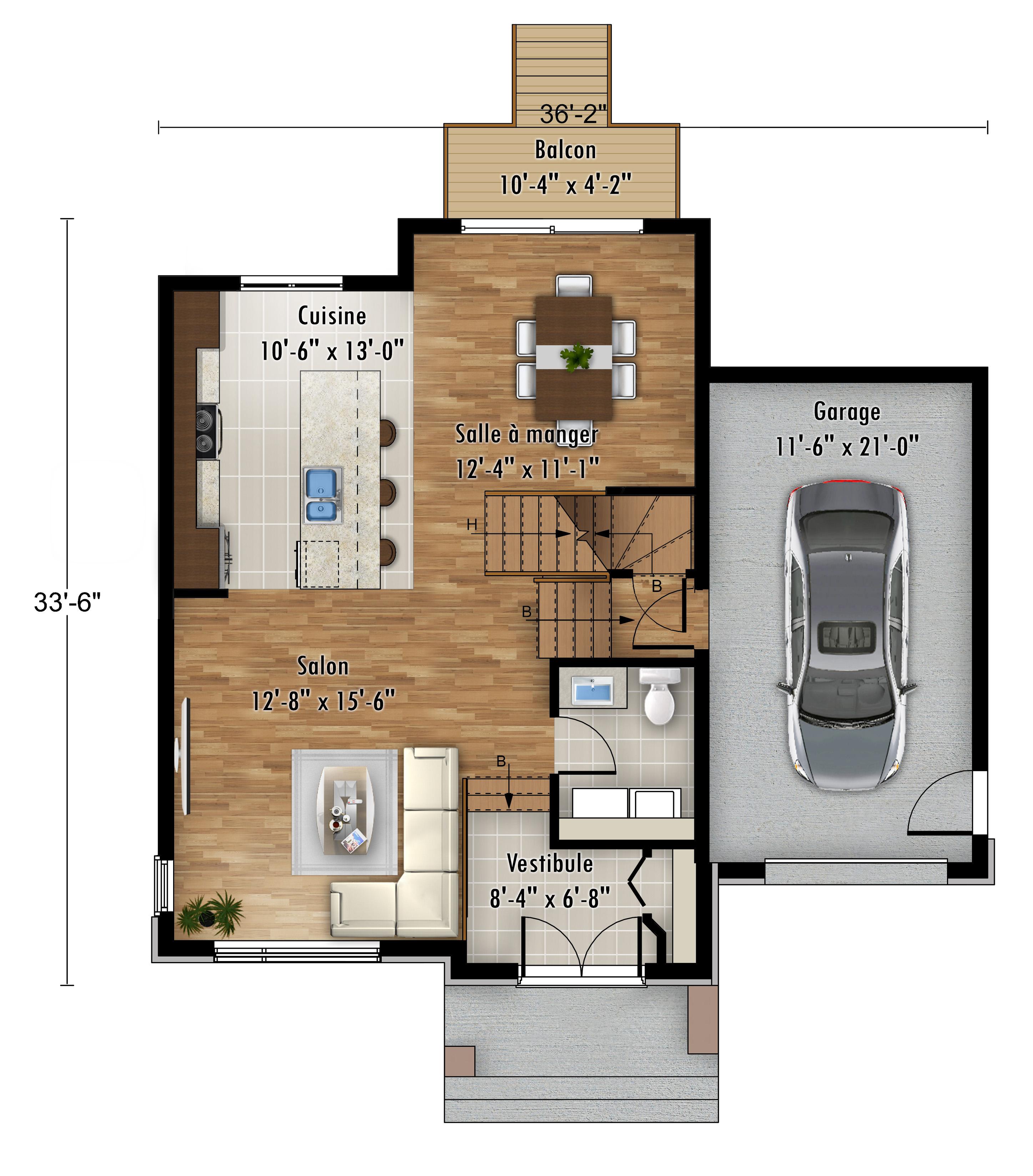 Plan modèle L'Hirondelle - maisons neuves à vendre