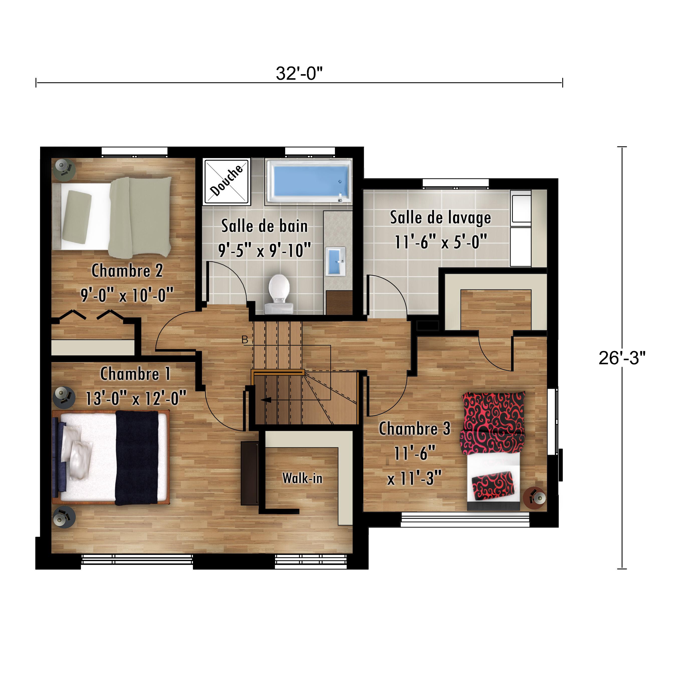 Plans La Tourterelle Étage - Maisons neuves à vendre à Carignan