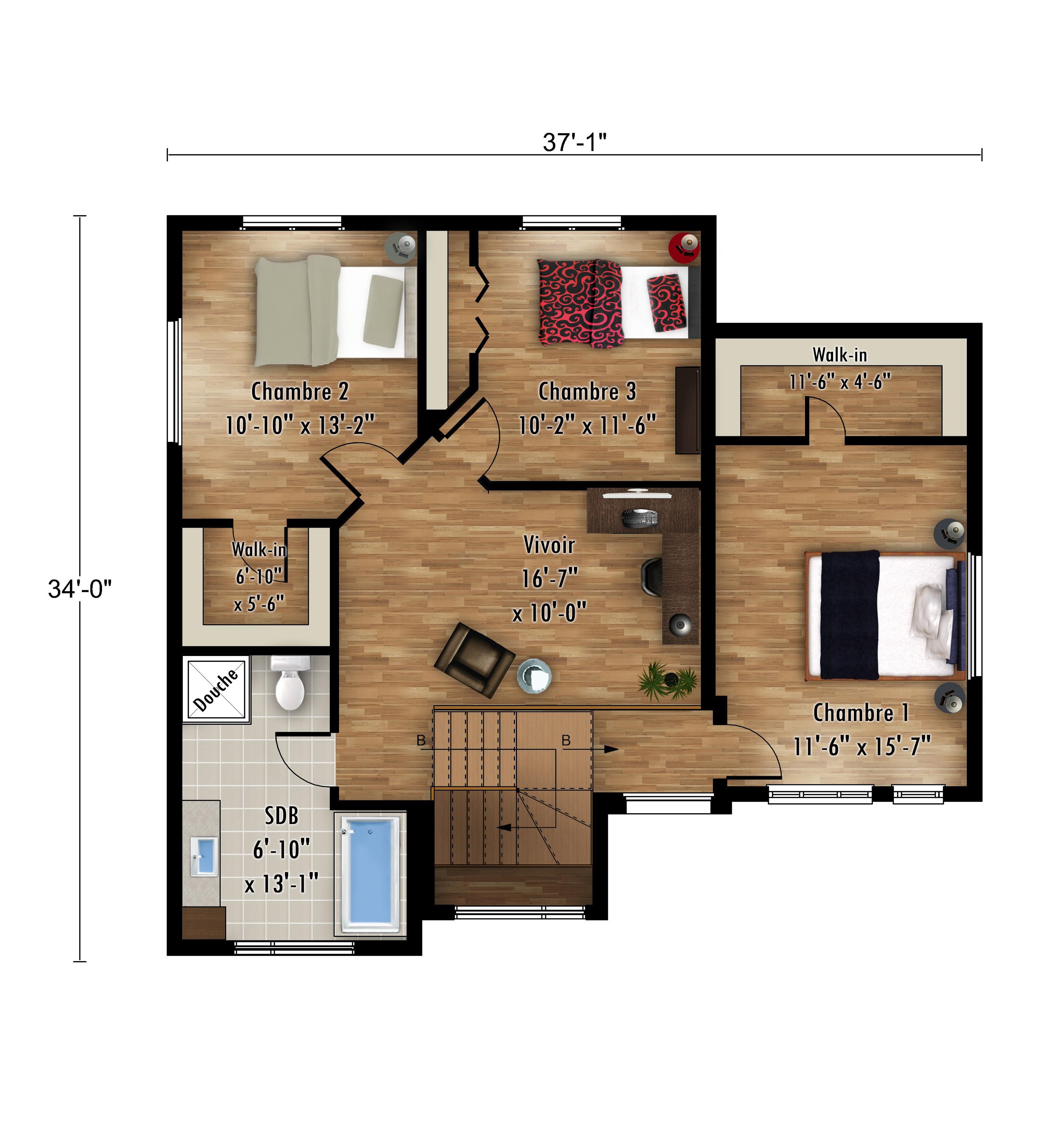 Le Colibri - Nos Plans - Maisons de ville neuves à vendre a Lanaudiere