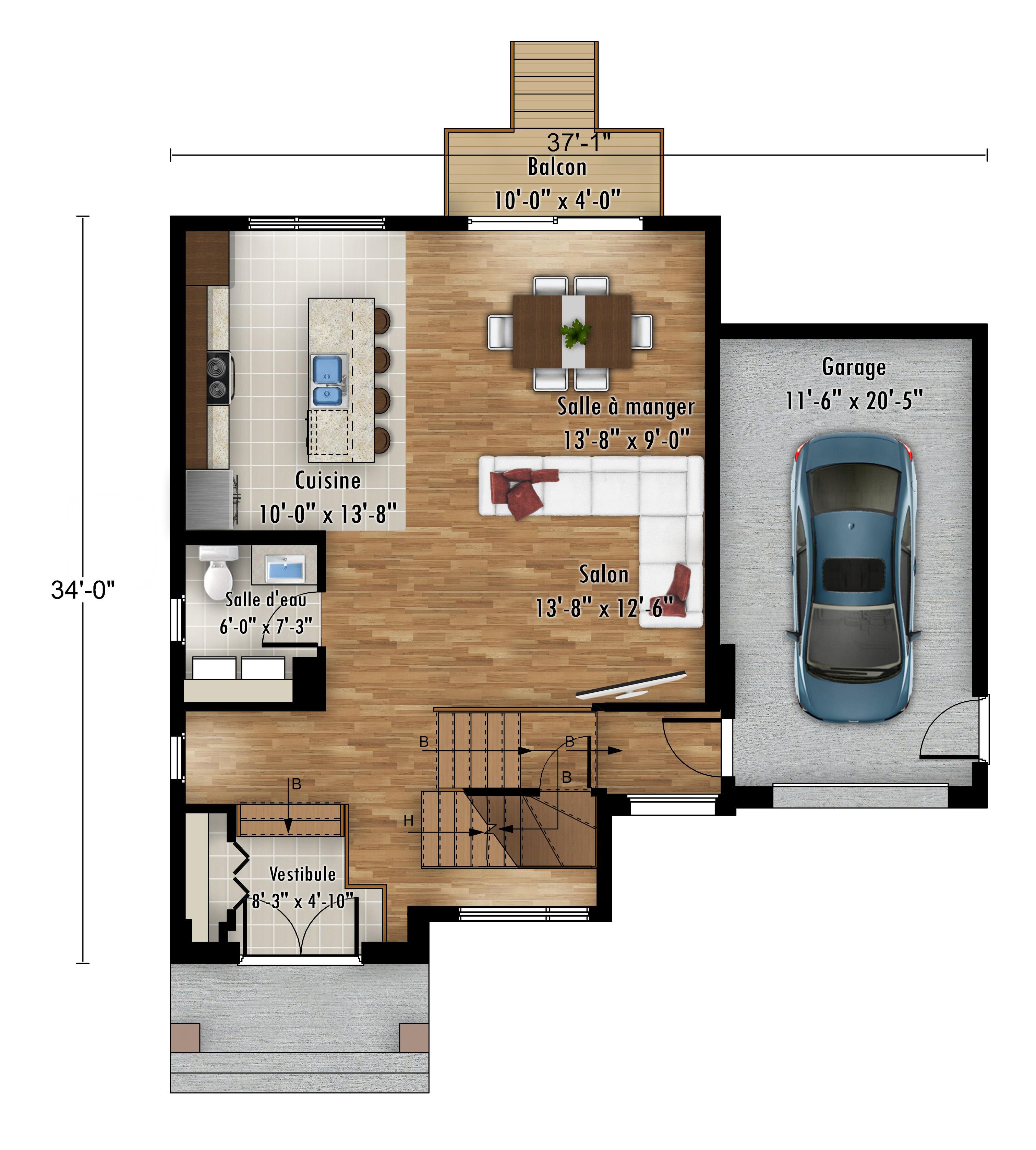 Le Colibri - Nos Plans - Maisons de ville neuves en vente a Lanaudière