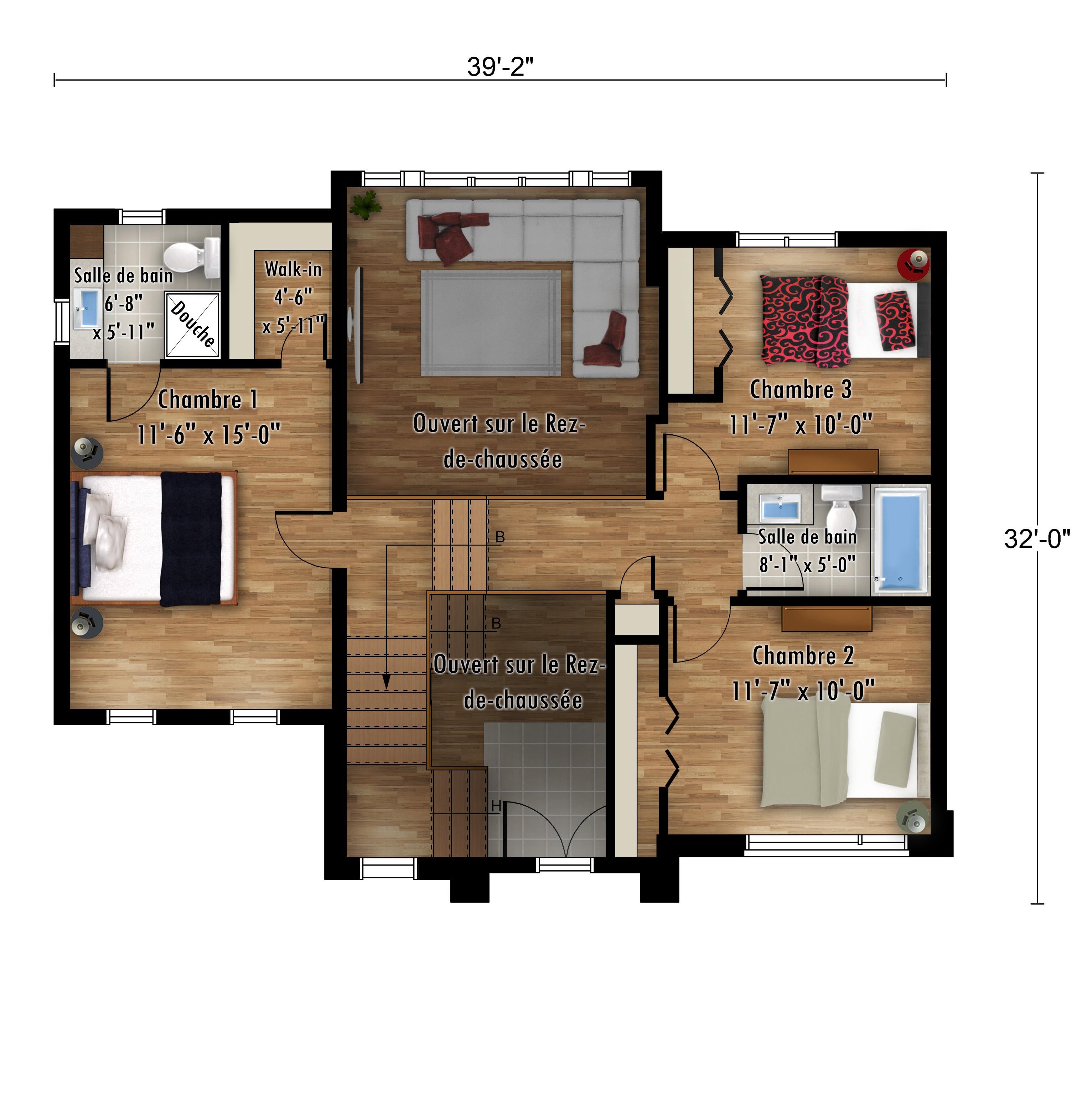 Le Passerin Étage - Nos Plans - Maisons de ville neuves à vendre a Lanaudière