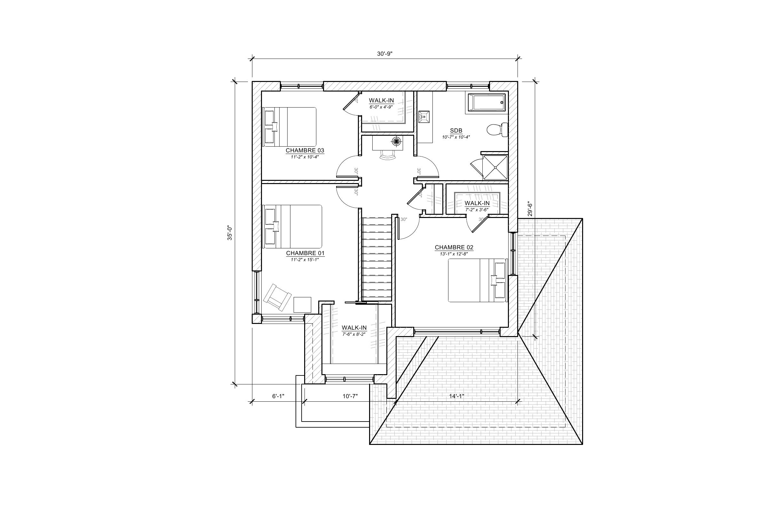 Maison L'Oriole - Plan vente - Étage B - Maisons neuves - Laurentides