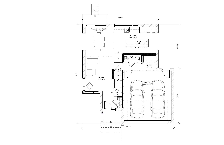 Maison L'Oriole - Plan vente - Rez-de-chaussée - Maisons neuves - Laurentides