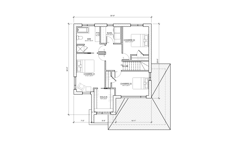 Maison Le Jaseur - Plan vente - Étage B - Maisons neuves - Laurentides